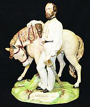A FIGURE STANDING WITH HIS HORSE, his hands
