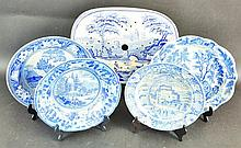 A BLUE AND WHITE STRAINER DISH, figures in boats,