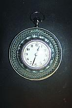 A CUT GLASS AND PLATE SEDAN CLOCK with white dial