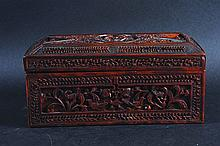 A 19TH CENTURY CHINESE CARVED SANDALWOOD BOX, with