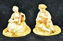 A RARE ROYAL WORCESTER PAIR OF BLUSH IVORY FIGURES