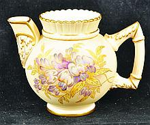 A ROYAL WORCESTER JUG of unusual shape, painted
