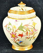 A ROYAL WORCESTER POT POURRI VASE WITH INNER AND