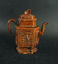AN UNUSUAL 19TH/20TH CENTURY CHINESE BROWN GLAZED