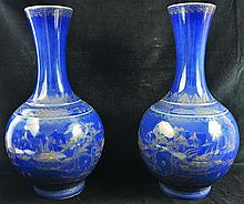 A LARGE PAIR OF CHINESE GILT DECORATED BLUE-GROUND