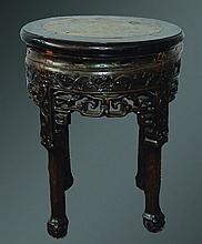 A CHINESE CARVED ROSEWOOD AND MARBLE INSET