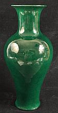 A CHINESE GREEN-GLAZED PORCELAIN VASE, applied