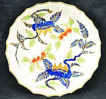 A RARE 18TH CENTURY DERBY MOULDED DISH painted in