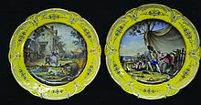 A SUPERB PAIR OF SEVRES SHAPED CIRCULAR PLATES
