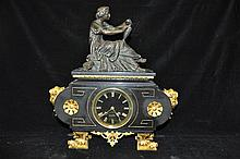 A 19TH CENTURY FRENCH BLACK MARBLE MANTLE CLOCK,