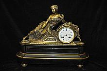 A 19TH CENTURY FRENCH BLACK SLATE MANTLE CLOCK