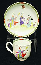 A WORCESTER POLYCHROME CUP AND SAUCER, CIRCA 1760,