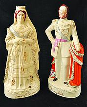 A PAIR OF LARGE VICTORIAN STAFFORDSHIRE FIGURES,