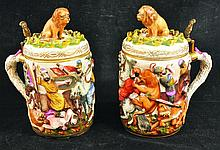 A PAIR OF NAPLES PORCELAIN TANKARDS AND COVERS,