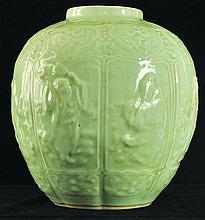 A CHINESE CELADON MOULDED PORCELAIN JAR, circa