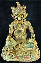 A CHINESE BRONZE FIGURE OF BUDDHA, seated on a