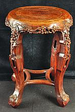 A 19TH CENTURY CHINESE CARVED HARDWOOD STAND, the