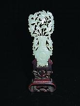 A CHINESE JADE CARVING, together with a fitted
