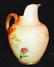 A ROYAL WORCESTER JUG painted and gilt with