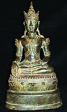 A 19TH CENTURY THAI GILT BRONZE FIGURE OF BUDDHA,