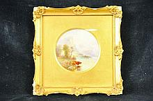 A FINE ROYAL WORCESTER PLAQUE painted with