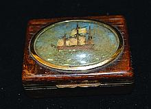 A GOLD MOUNTED WOODEN SNUFF BOX,