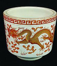 A CHINESE PORCELAIN BRUSHPOT, the sides decorated