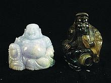 A CHINESE CARVED HARDSTONE MODEL OF BUDDHA, 3.5in