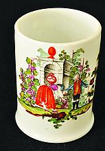AN 18TH CENTURY WHITE MILK GLASS TANKARD painted