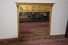 A 19TH CENTURY GILT OVERMANTLE MIRROR with