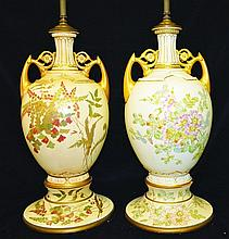 A LARGE PAIR OF ROYAL WORCESTER TWO HANDLED VASES