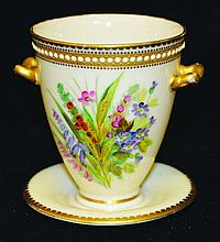 A SMALL ROYAL WORCESTER IVORY GROUP TWO HANDLED