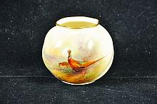 A ROYAL WORCESTER GLOBULAR POT painted with a
