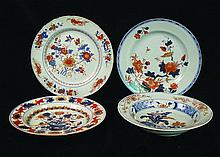 FOUR 18TH CENTURY CHINESE IMARI PORCELAIN PLATES,