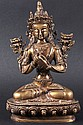 A 19TH CENTURY CHINESE TIBETAN BRONZE FIGURE OF
