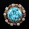 10kt Gold Diamond & Turquoise Ring The ring is a w
