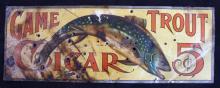 Game Trout Cigar Sign Rare circa 1900 This is a Ga