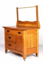 Antique Oak Wash Stand with Towel Bar This is a ha