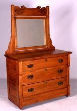 Antique Chestnut Dresser with Beveled Mirror This