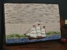 New England Mounted Hooked Rug Yankee Clipper Ship Design