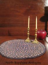 American Folk Art Miniature Silk Braided Table Rug 1800s