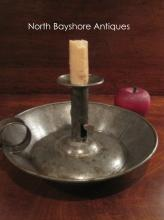 New England Shaker Sponge Cake Tin Sheet Metal Candlestick 1800s