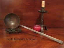 Colonial Open Hearth Wrought Iron Ladle Copper Rivets 1700s
