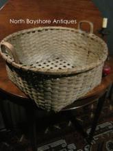 New England Shaker Black Ash Cheese Basket 1800s