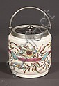 English china biscuit barrel with mauve, blue and yellow floral decoration, c.1900, 6