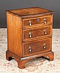Small Queen Anne walnut three drawer chest with herringbone inlay and bracket feet, c.1880, 21