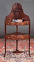 Inlaid Sheraton mahogany corner washstand with one drawer, and splay legs with shaped stretcher, c.1830, 24