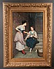 Oil painting on canvas depicting two women talking in a doorway, signed