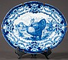 Oval English blue and white ironstone platter with floral and turkey decoration, c.1880, 20