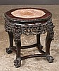 Chinese teakwood stand with inset marble top, pierced carved apron and ball and claw feet, c.1880, 17